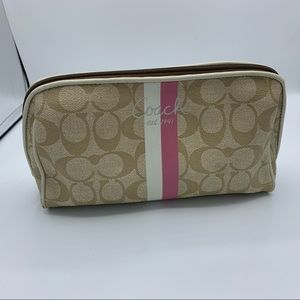 Coach Brown Pink Logo Coated Fabric Cosmetic Bag
